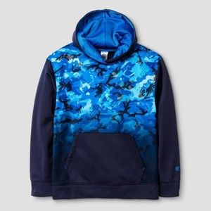 Champion Boys Tech Fleece Navy Print Hoodie